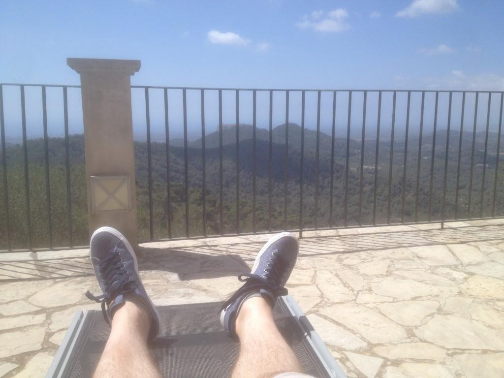 Blick von der Terrasse des Sanctuario de San Salvador auf die Gegend bei Felanitx