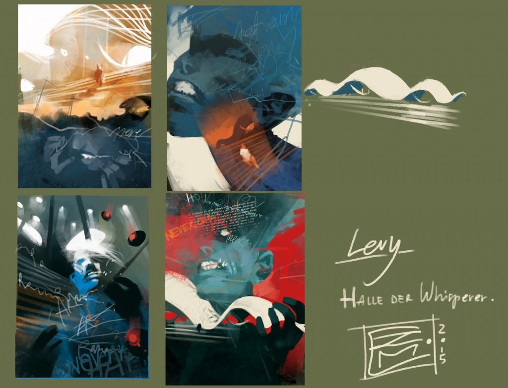 Sketches von Levy und der Halle der Whisperer