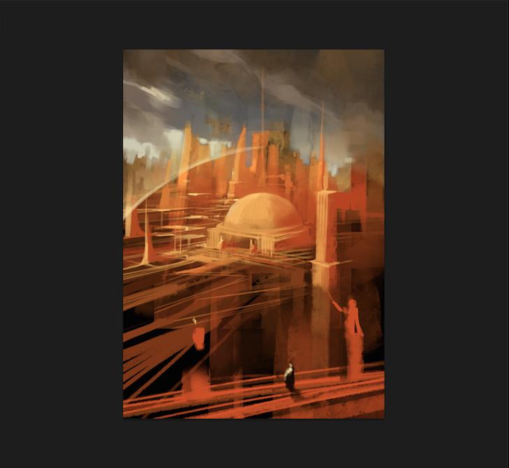 Entwurf der Normalstadt mit der Halle der Whisperer in ihrer Mitte